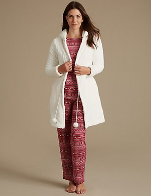 Fairisle Print Pyjama Set with Dressing Gown, , catlanding