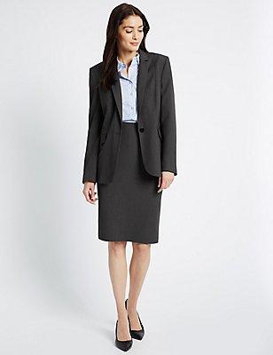 Piped Blazer & Skirt Set, , catlanding