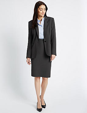 Piped Blazer & Skirt Set, , catlanding
