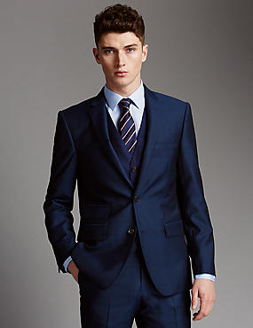 Blue Tailored Fit Wool 3 Piece Suit, , catlanding