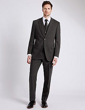 Charcoal Regular Fit 3 Piece Suit, , catlanding