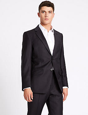Striped Regular Fit Wool Suit, , catlanding