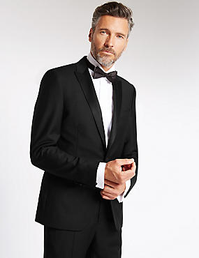 Black Tailored Fit Wool Tuxedo Suit, , catlanding