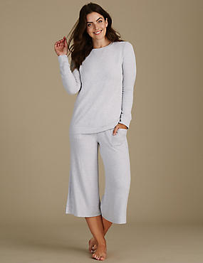 Long Sleeve Cropped Pyjama Set, , catlanding