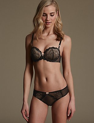 Lace Set with Underwired Padded Balcony A-E, , catlanding