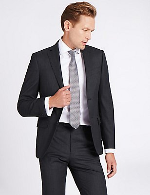 Charcoal Textured Tailored Fit Wool Suit, , catlanding
