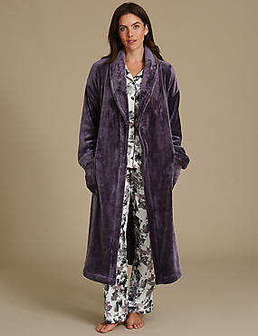 Satin Printed Pyjamas Set with Dressing Gown, , catlanding