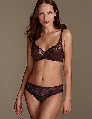 Jacquard Lace Set with Underwired Full Cup A-DD, , catlanding