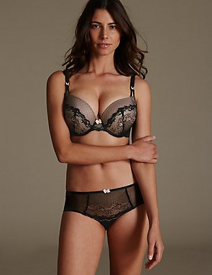Lace Set with Padded Plunge DD-GG, , catlanding