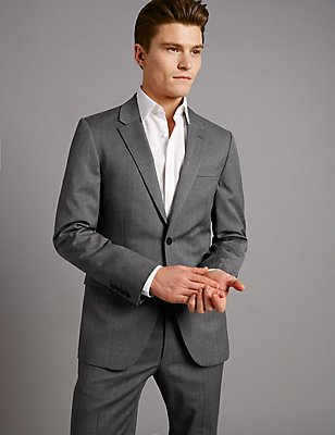 Grey Tailored Fit Italian Wool Suit, , catlanding