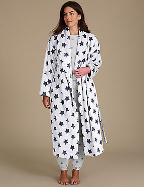 Star Print Pyjama Set with Dressing Gown, , catlanding