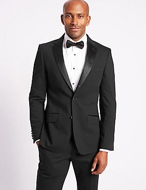 Black Slim Fit Tuxedo Suit, , catlanding