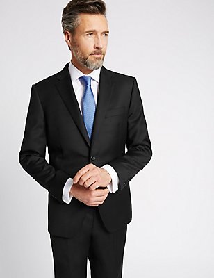 Black Tailored Fit Wool Suit, , catlanding