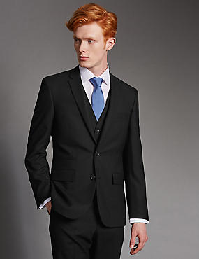Black Tailored Fit Wool 3 Piece Suit, , catlanding