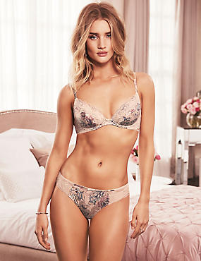 Silk And Lace Set With Padded Plunge A-E, , catlanding