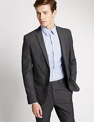 Grey Checked Modern Slim Fit Suit, , catlanding