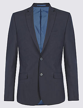 Navy Super Slim Fit Suit Including Waistcoat