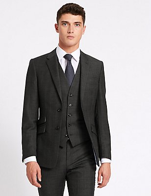 Grey Checked Slim Fit Wool 3 Piece Suit, , catlanding