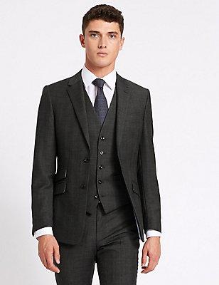 3-teiliger graukarierter Anzug aus Wolle in schmaler Passform, , catlanding