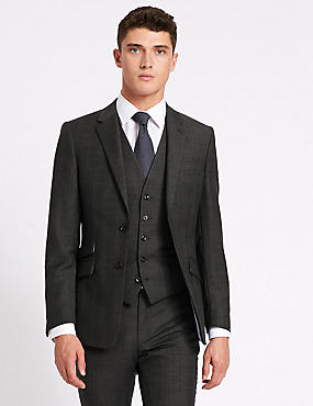Grey Checked Regular Fit Wool 3 Piece Suit, , catlanding