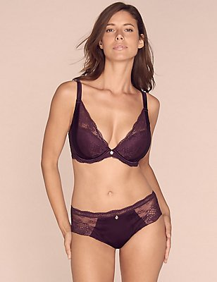 Silk & Lace Set with Padded Plunge DD-G, , catlanding
