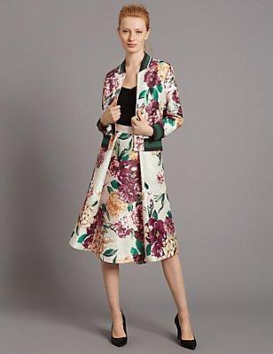 Floral Print Jacket & Skirt Set, , catlanding