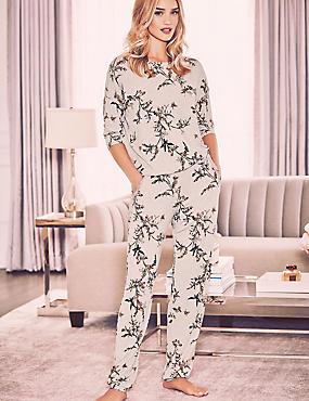 Floral Print Pyjama Set, , catlanding