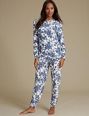 Floral Print Long Sleeve Pyjama Set, , catlanding