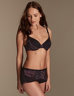 Amelie Lace Set with Padded Plunge A-E, , catlanding