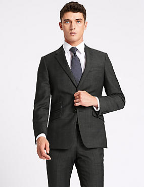Grey Checked Slim Fit Wool Suit, , catlanding