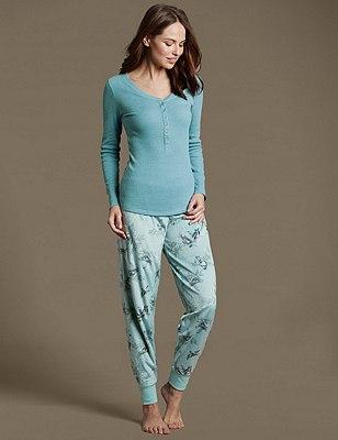 Cuffed Hem Pyjama Set, , catlanding