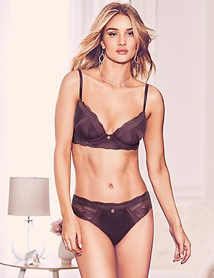 Silk & Lace Set with Padded Plunge A-E, , catlanding