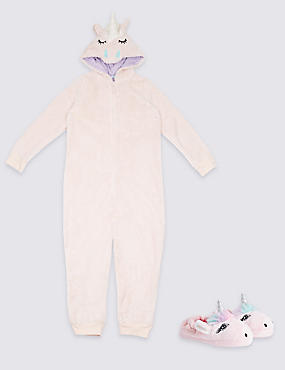 Unicorn Onesie & Slippers Set, , catlanding