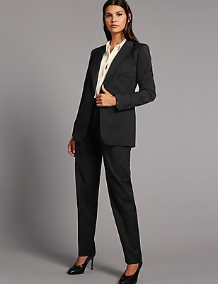 Wool Blend Suit Jacket & Trousers Set, , catlanding