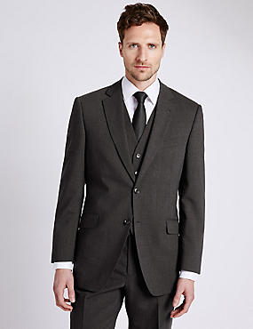 Charcoal Checked Slim Fit Suit, , catlanding