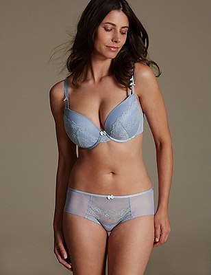 Penelope Lace Set with Padded Plunge DD-GG, , catlanding