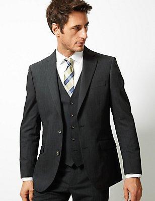 Charcoal Textured Regular Fit 3 Piece Suit, , catlanding