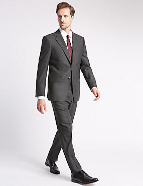 Charcoal Striped Regular Fit Suit, , catlanding