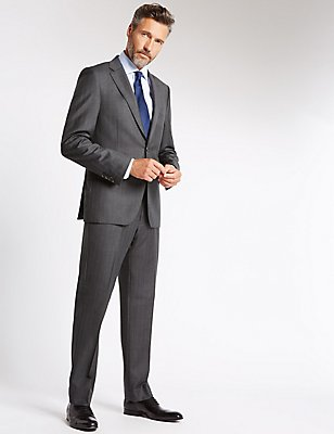 Grey Striped Tailored Fit Suit, , catlanding