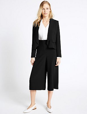 Cropped Crepe Jacket & Culottes Set, , catlanding