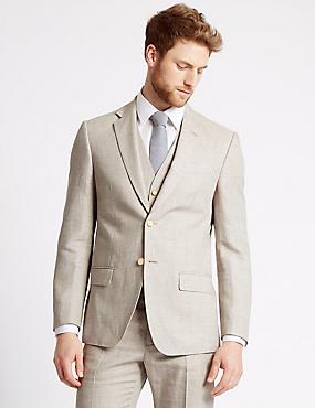 3-teiliger beigefarbener, strukturierter Anzug in normaler Passform, , catlanding