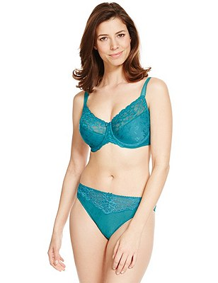 Textured Jacquard Lace Set with Minimiser Full Cup C-G, , catlanding