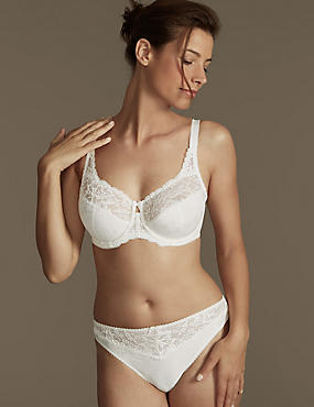 Jacquard & Lace Set with Underwired Full Cup DD-H, , catlanding