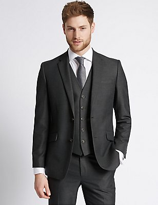 Big & Tall Charcoal Tailored Fit Suit, , catlanding