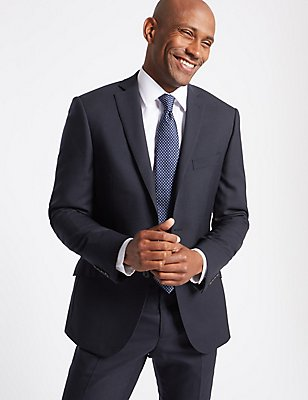 Navy Slim Fit Wool Suit, , catlanding