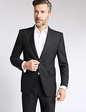 Grey Checked Tailored Fit Wool Suit, , catlanding
