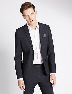 Dunkelgrauer, schmal geschnittener, moderner Anzug mit Strukturmuster, , catlanding