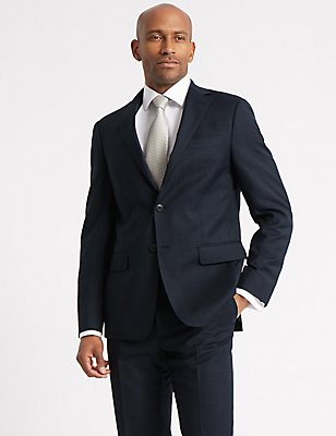 Navy Checked Tailored Fit Wool Suit, , catlanding