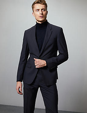 Navy Slim Fit Italian Wool Suit, , catlanding