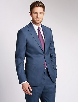Blue Regular Fit Wool Suit, , catlanding
